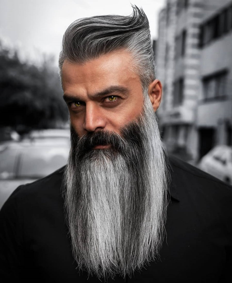 funky grey hairstyle with long beard