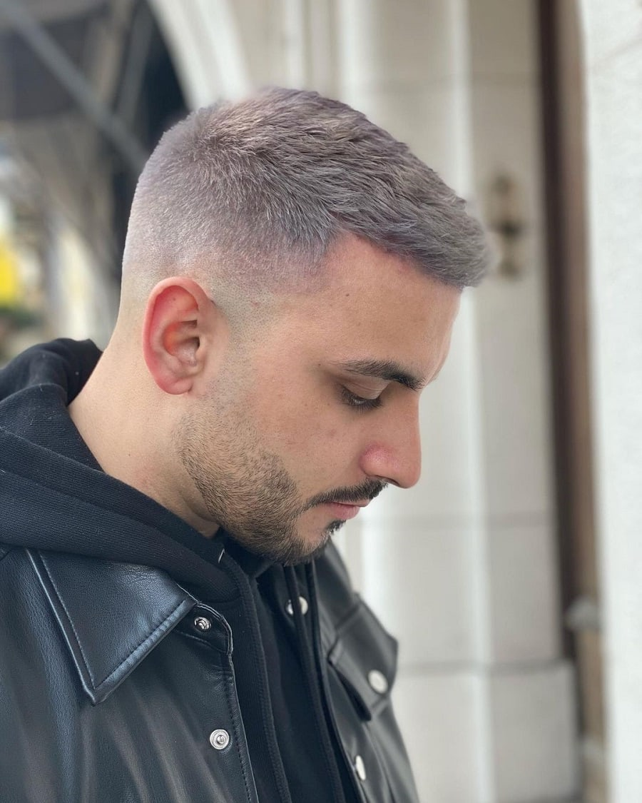 crop short grey hairstyle with fade