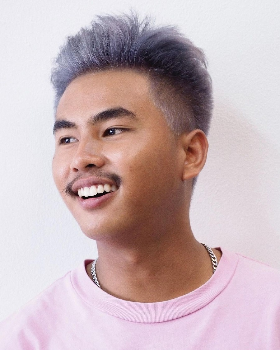 funky grey hairstyle with undercut