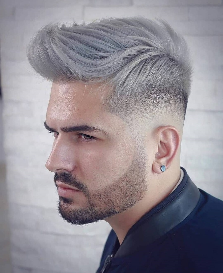 spiky quiff grey hairstyle with low fade