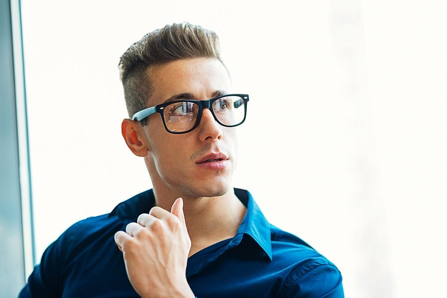 undercut hairstyle with glasses