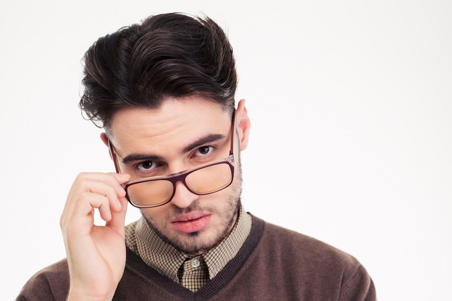 wavy hairstyle with glasses