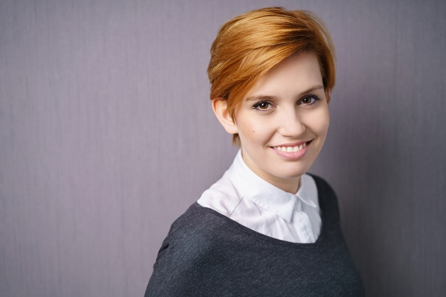 short professional red hairstyle