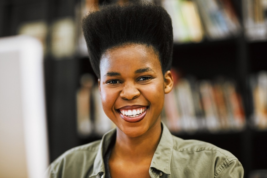 black woman with tapered short hair