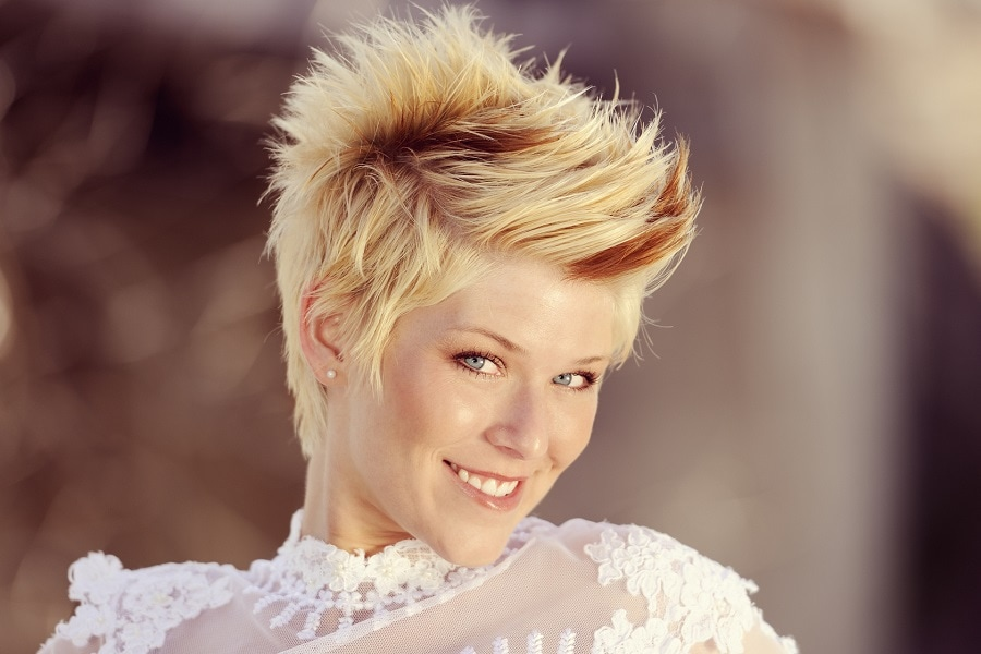 woman with tapered spiky short hairstyle