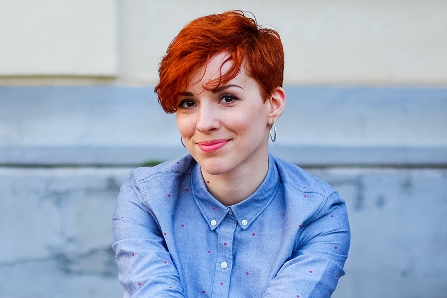 tapered short red hairstyle