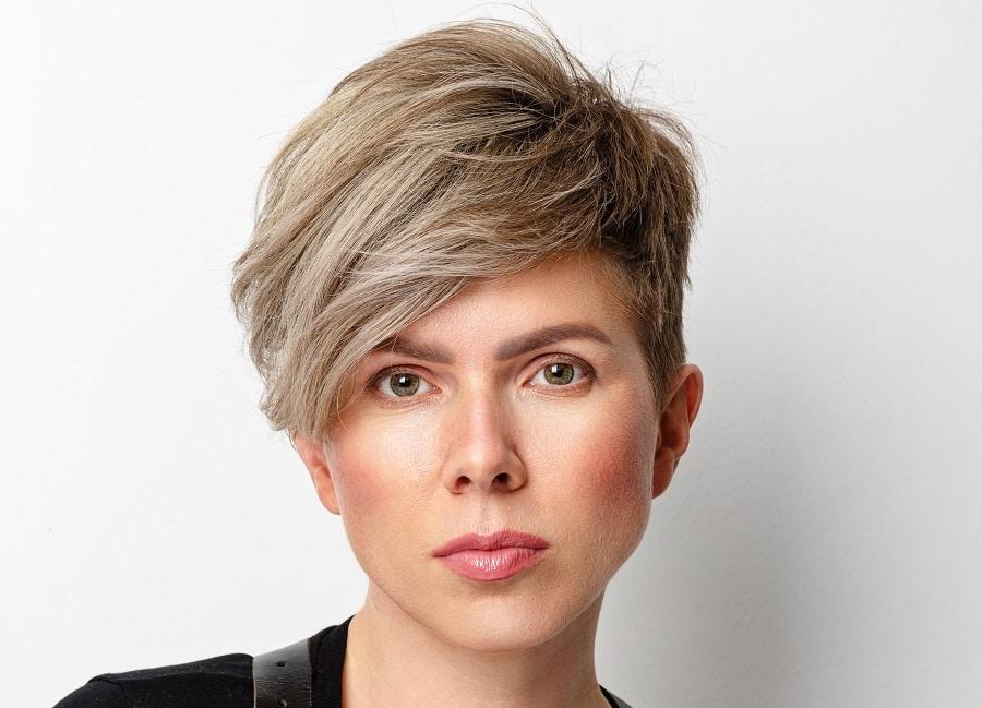 ash blonde tapered short hair