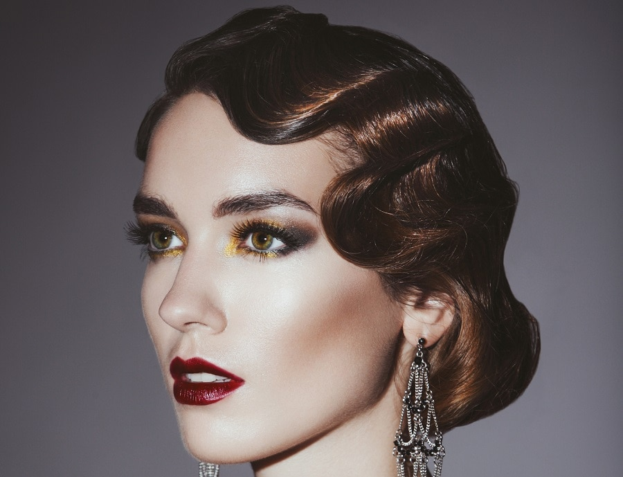 vintage hairstyle with short brunette hair