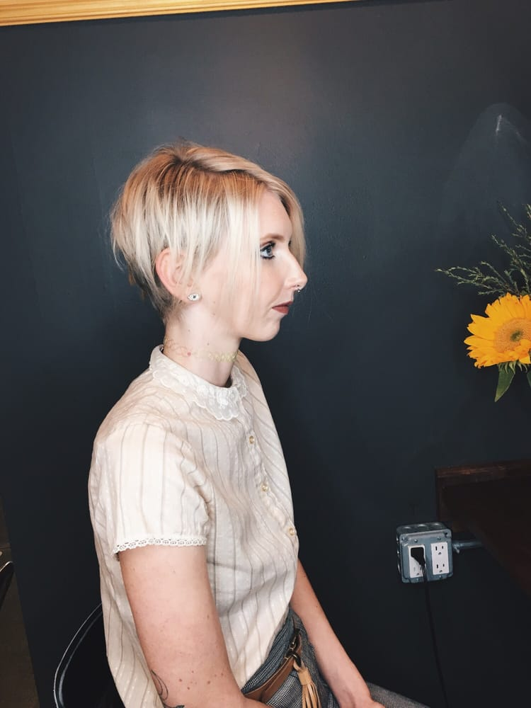 Blonde Asymmetrical Short Hair