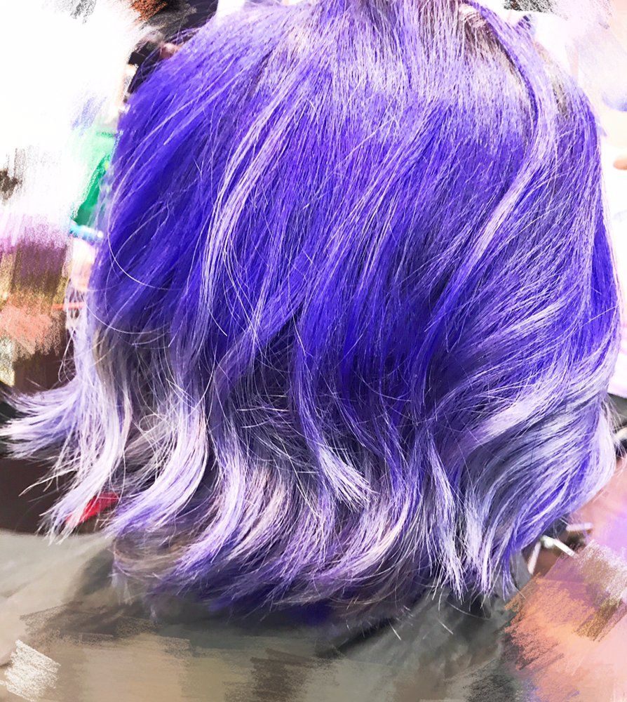 Blue Bob Cut Hairstyle