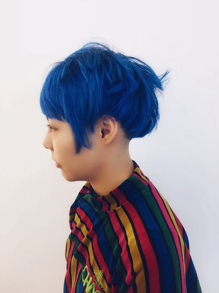 Blue Choppy Pixie Cut Hair