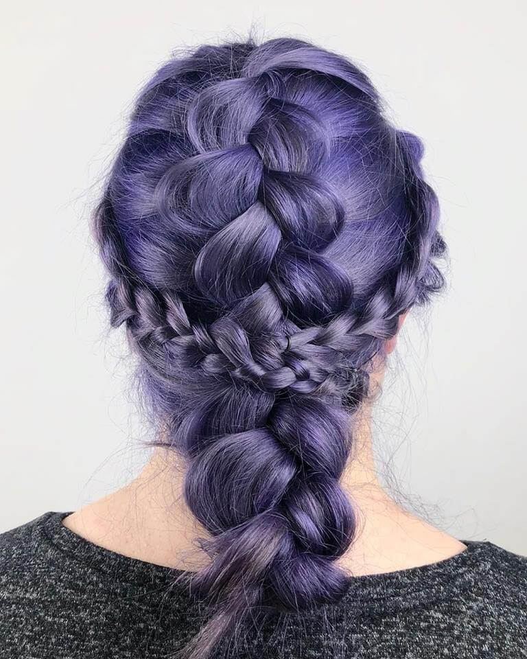 Braided Crown Hairstyle with Purple Hair