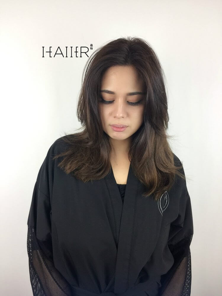 Center Part Balayage Hair