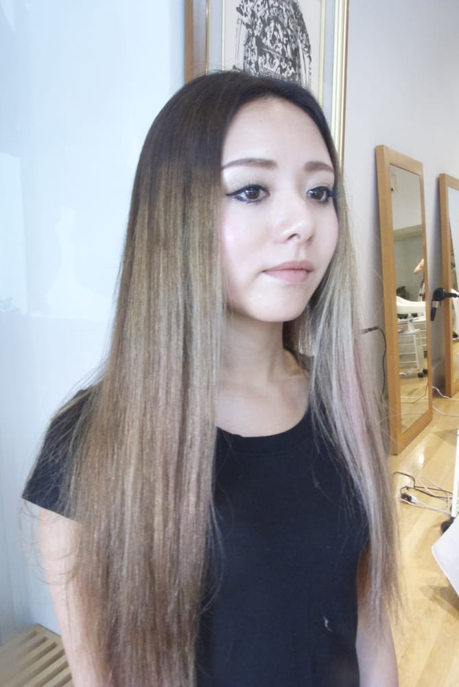 Center Part Long Straight Hair