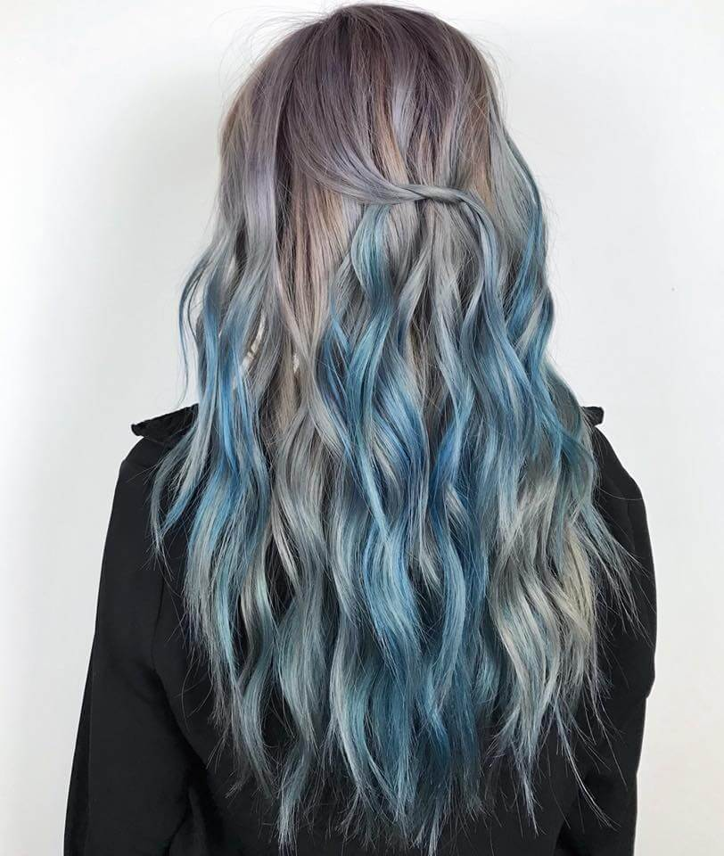 Layered Long Hairstyle with Blue Highlight