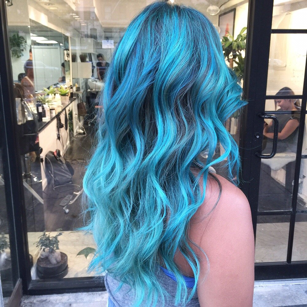 Long Hair with Blue Hair Color