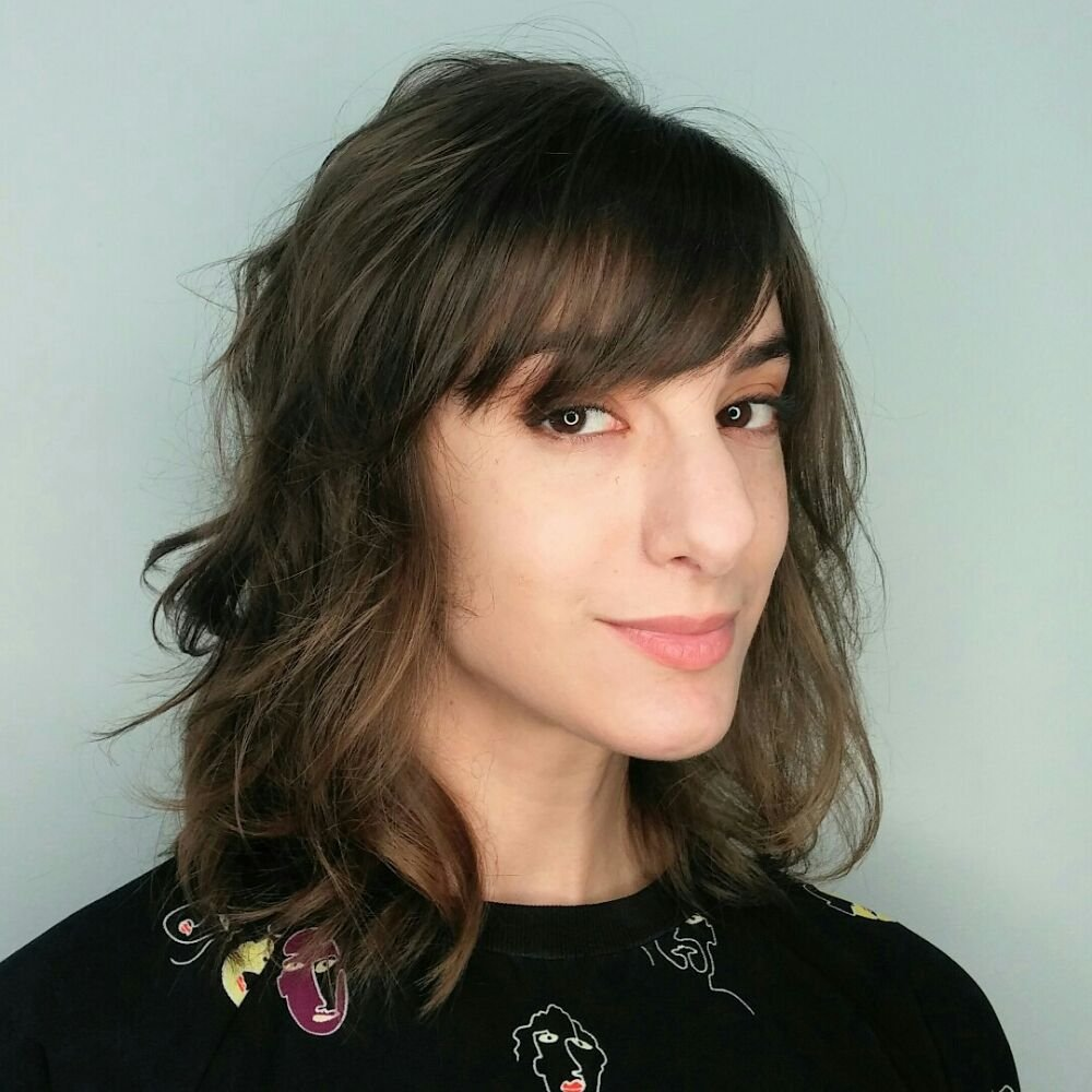 Neck Length Brown Hair with Bangs