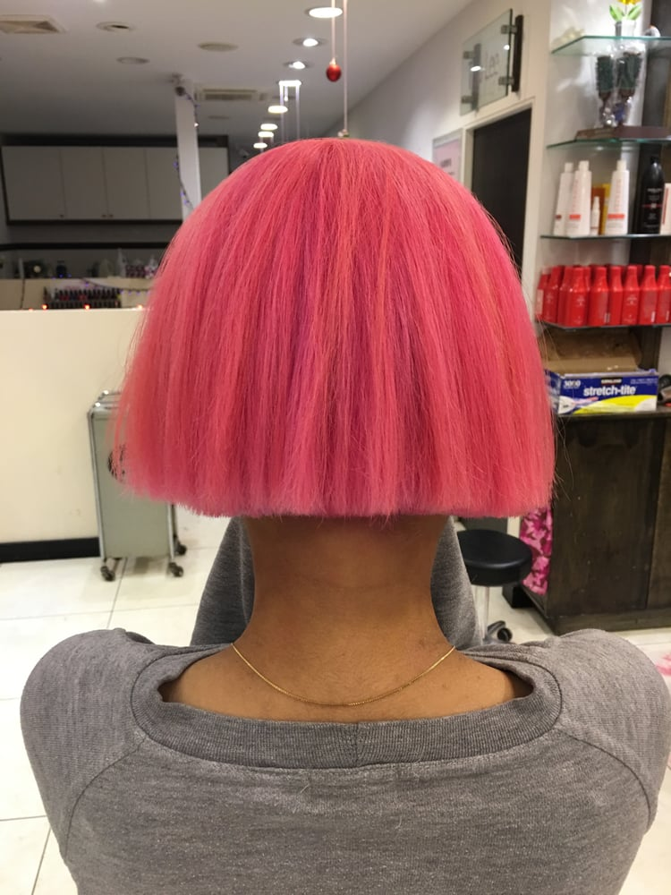 Pink Bob Cut Hairstyle