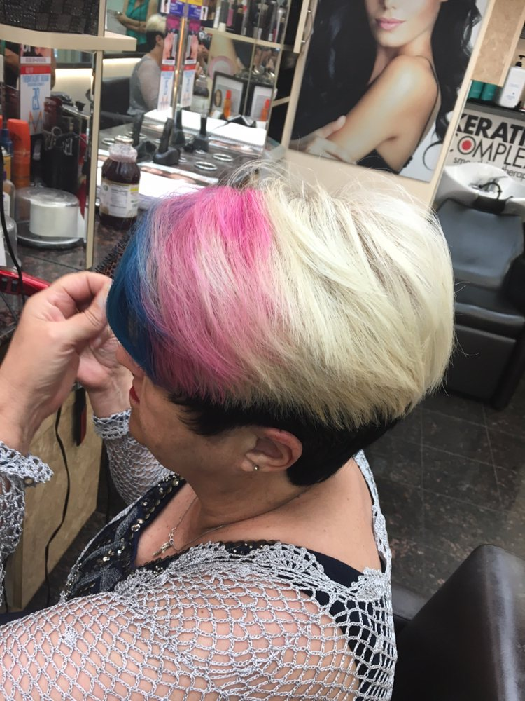 Pink and Blonde Pixie Cut