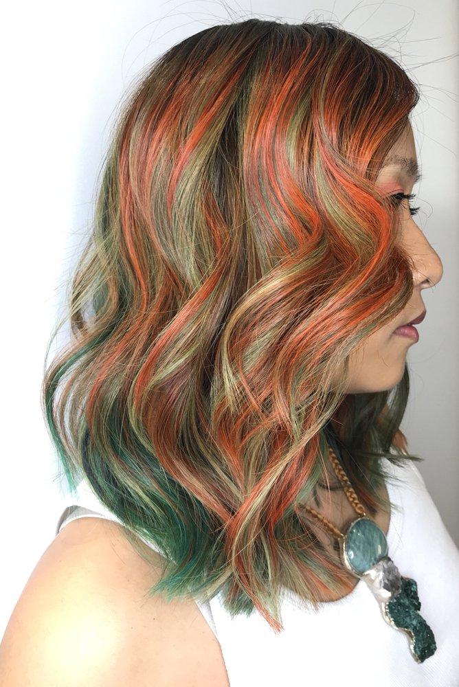 Rainbow Wavy Hairstyle