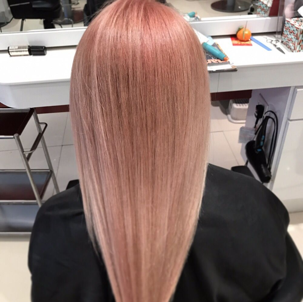 Rose Gold Straight Hair