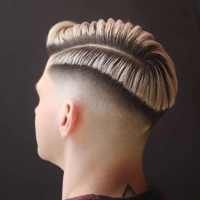 Side Shaved Razor Part Blonde Hairstyle