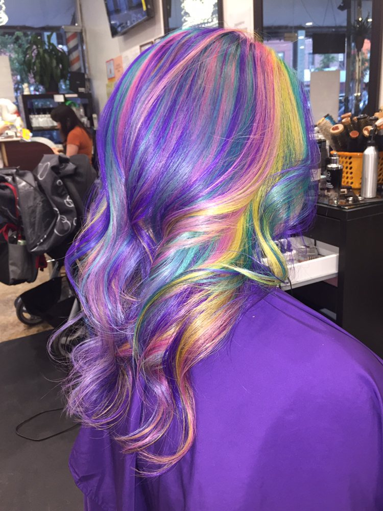 Wavy Hairstyle with Rainbow Hair Color