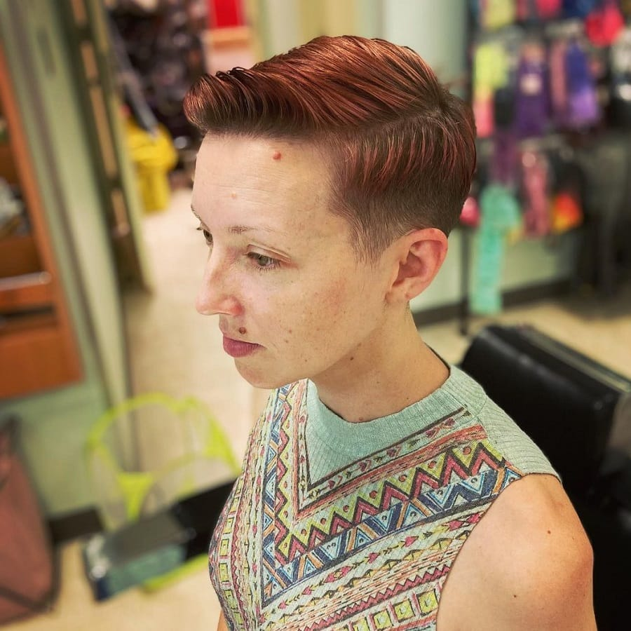 woman with short quiff hair