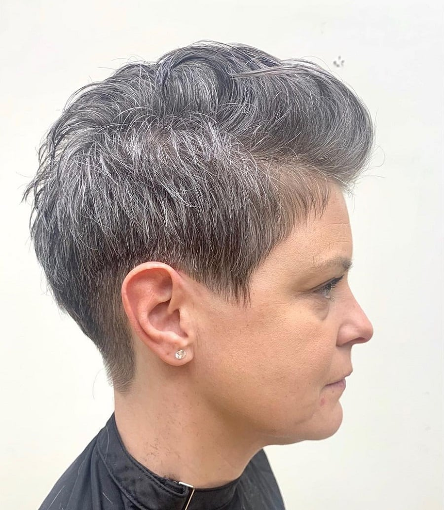 older woman with short quiff hairstyle