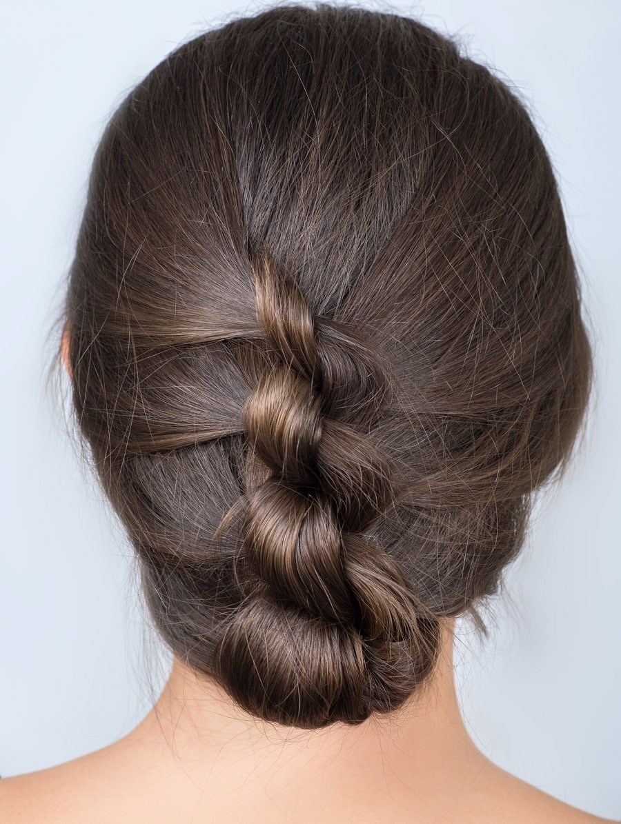 twisted updo with medium hair