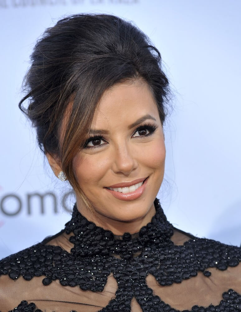 Classic Beehive Hairstyle for Long Dark Brunette Hair with Side Swept Bangs