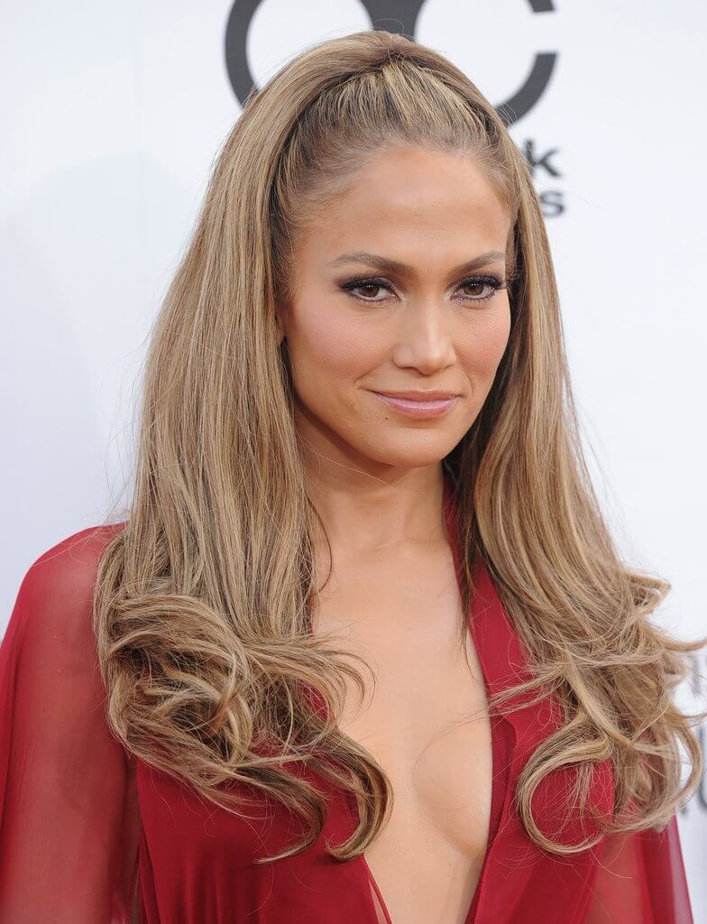 Blow-waved, half-up style for caramel colored hair