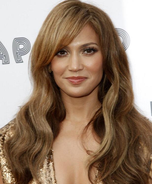 Side swept bangs for medium caramel brunette colored hair