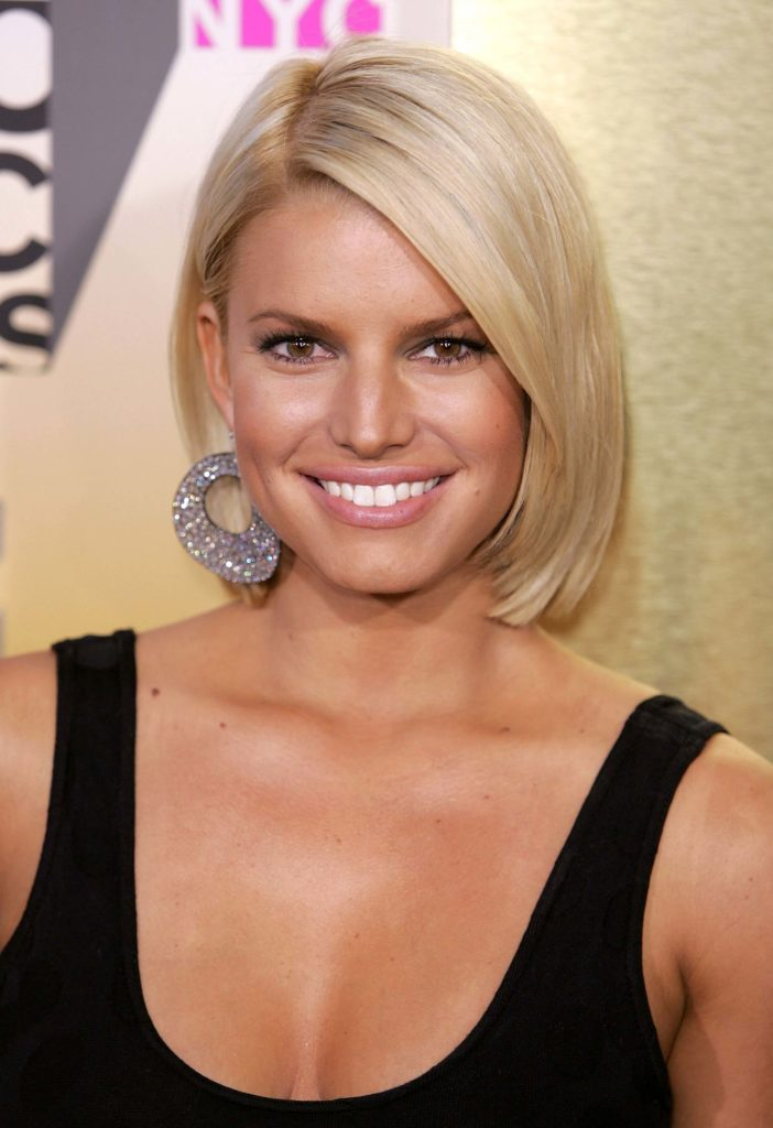 Layered Bob Straight Hairstyle For Light Ash Blonde Colored Hair