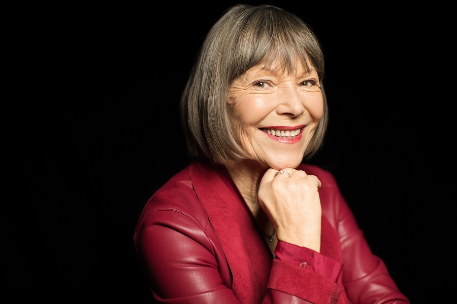 gray bob with bangs for women over 50