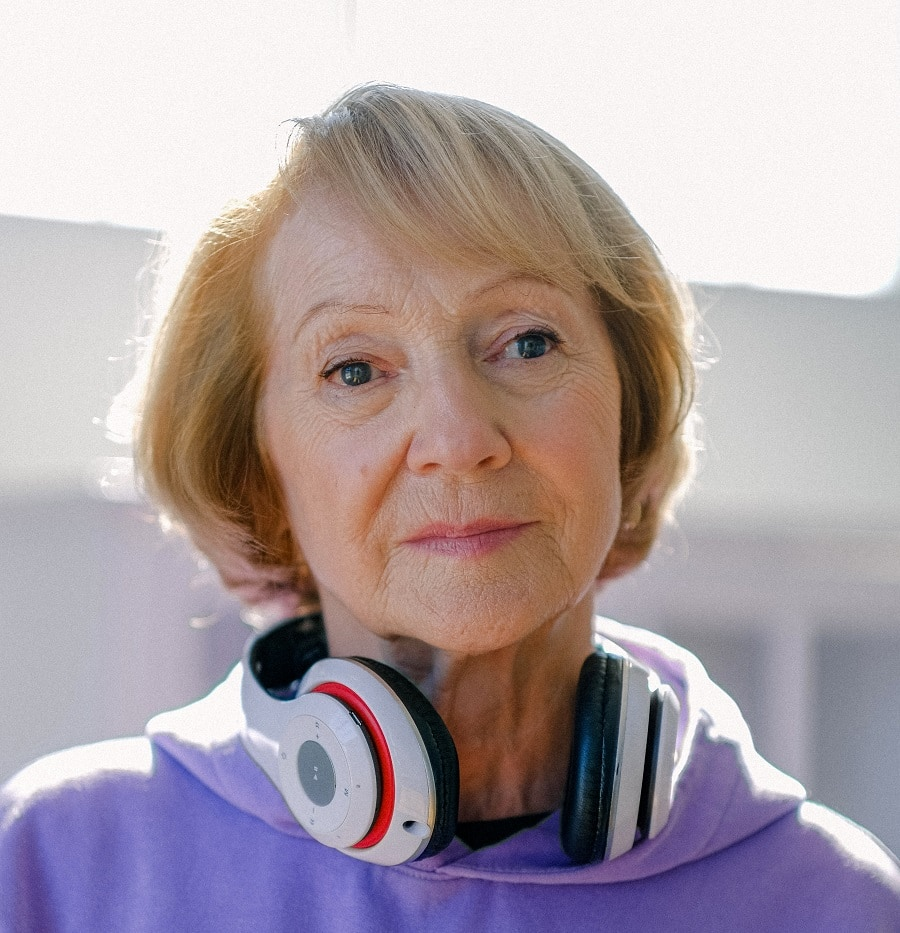 bob with side bangs for older woman