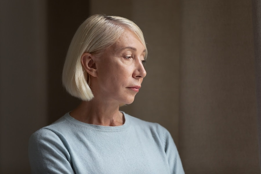 blonde bob with side part for women over 50