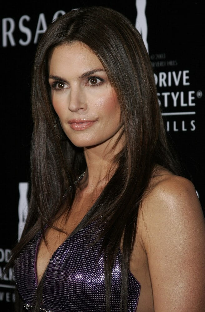 Long Straight Layered Hairstyle With Dark Brown Hair Color
