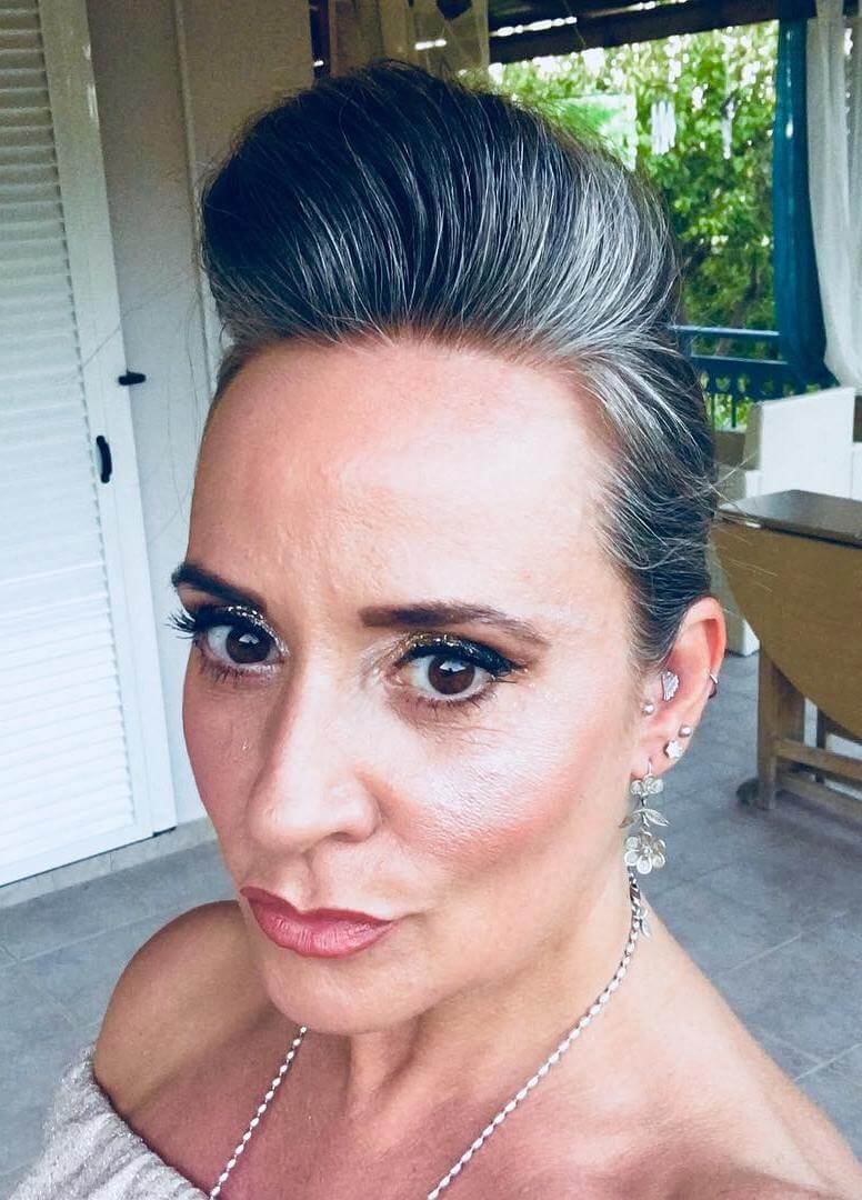 Silver updo hairstyle