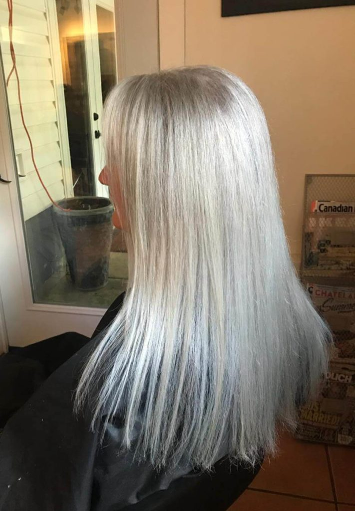 Long straight silver hairstyle