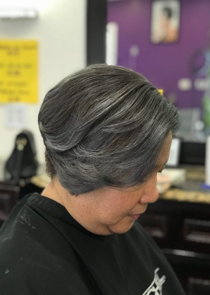 Caramel silver hairstyle