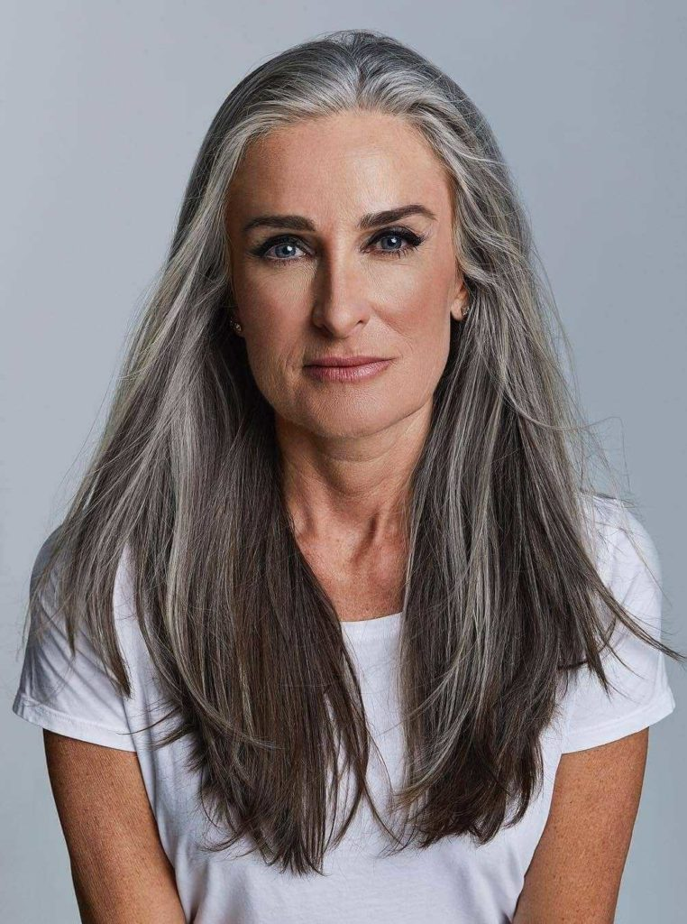 Shoulder length silver hairstyle