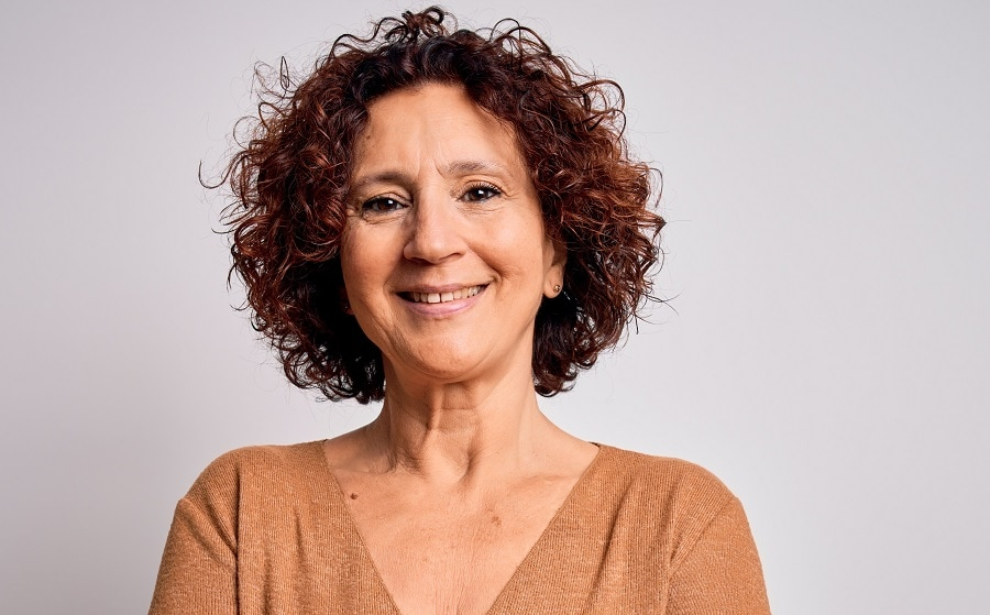 messy curly bob for older woman