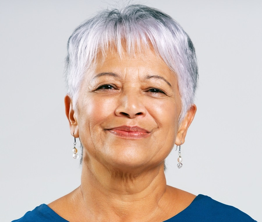 older woman with short gray hair
