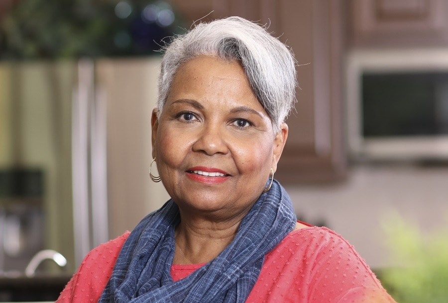 short gray hair with side bangs for older woman