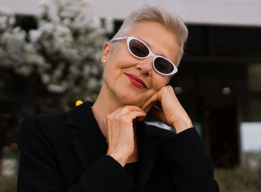 woman over 50 with funky short gray hairstyle