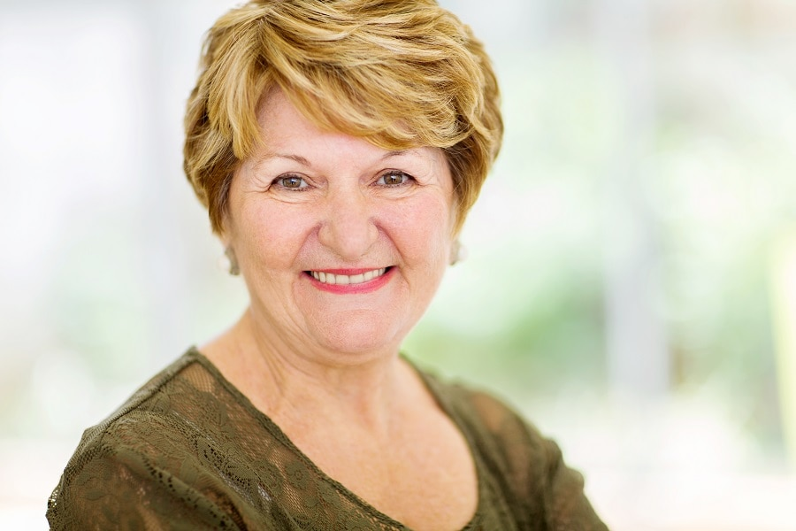 blonde layered pixie for woman over 50