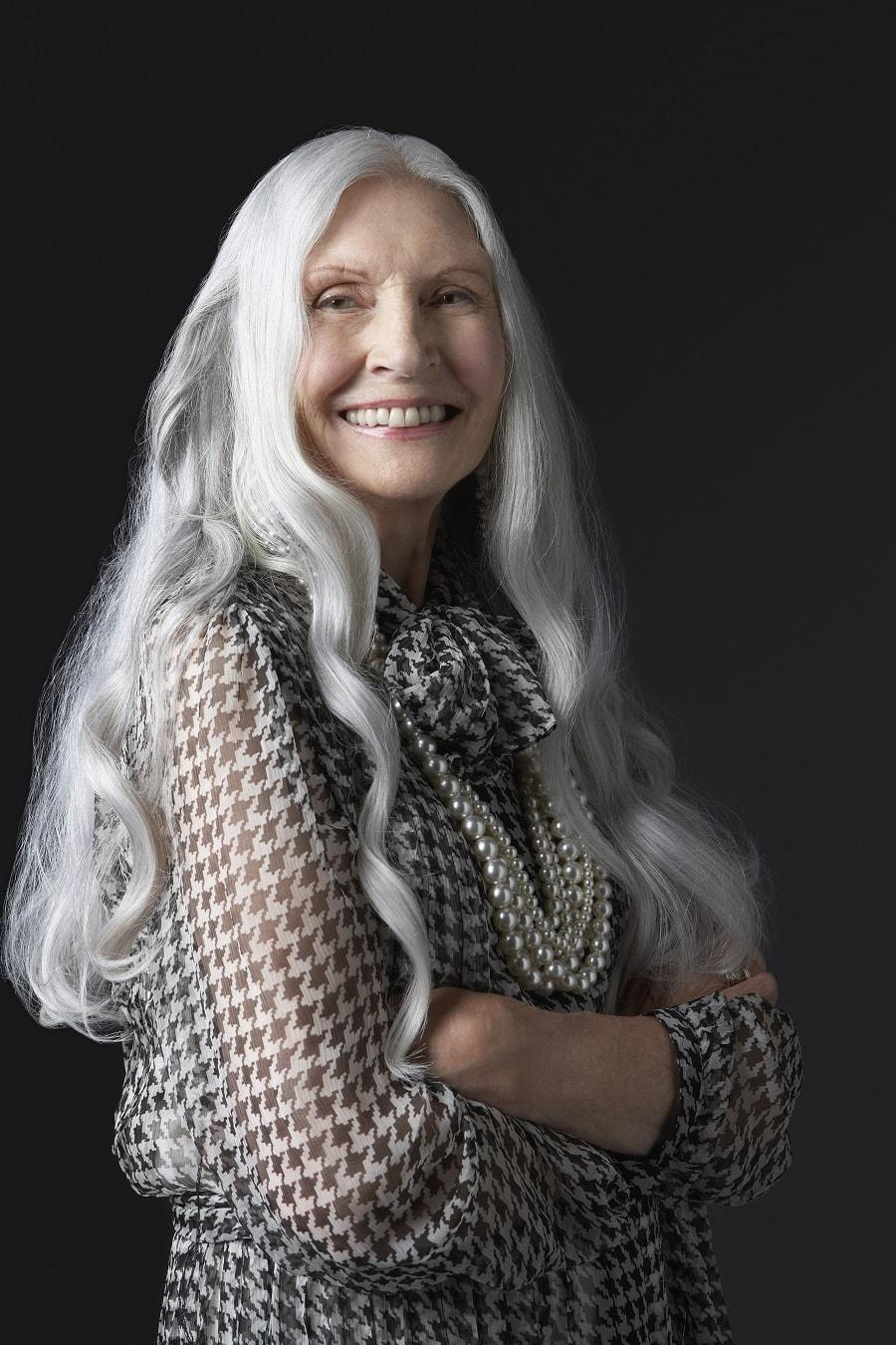 older woman with long platinum blnde hair