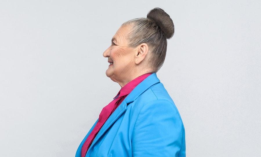 sleek bun for older woman