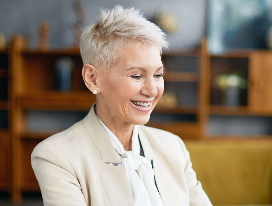 woman over 50 with very short pixie cut